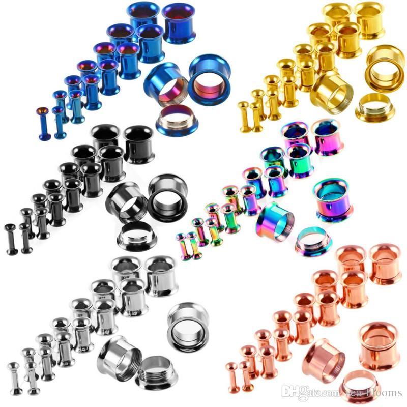 6 Kit de Estiramiento de Orejas de Color Tapones para los Oídos Anillo de Enchufe Tornillos Tornillo Ajuste Tapones de Oreja Joyería Calibrada 16 unids / set G84L