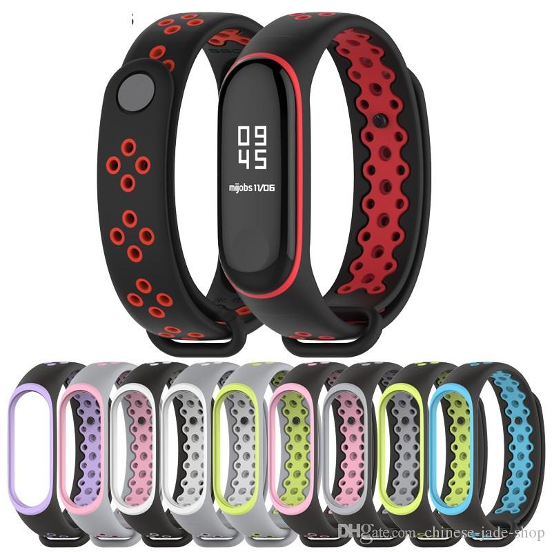 Hybrid Color Sports silicone Strap for Xiaomi Mi Band 3 MiBand 3 Replacement Bracelet Wristband 50pcs/lot