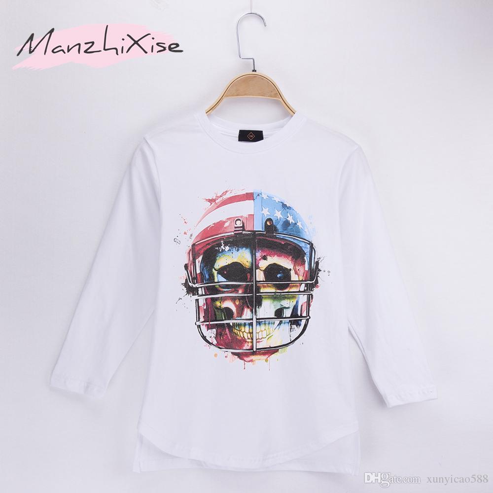 2018 Hot Sale Casual Children T-shirts Skull Rock Football Design Top Cotton Long Loose Child Kids Boy T Shirt Baby Clothing Girls Tops