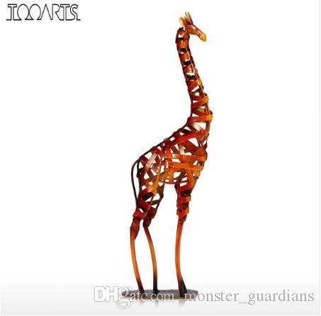 Tooarts Yeni Marka Metal Heykelcik Demir örgülü Zürafa Eski Ev Dekor Zürafa El Sanatları Ev Dekorasyon Aksesuarları
