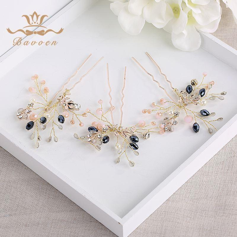 3 pics Handmade Brides Black Crystal Hairpins Freshwater Pearls Brides Hair Hairbands Wedding Hair Accessories C18110801