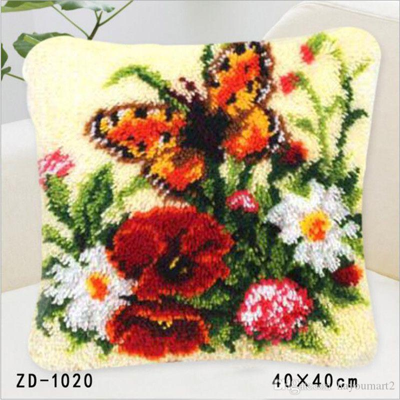 Pillow Case Butterfly Latch Hook Rug Canvas Embroidery Pillow Crochet Animal Kit Handmade Craft Cushion Kits Home Deco