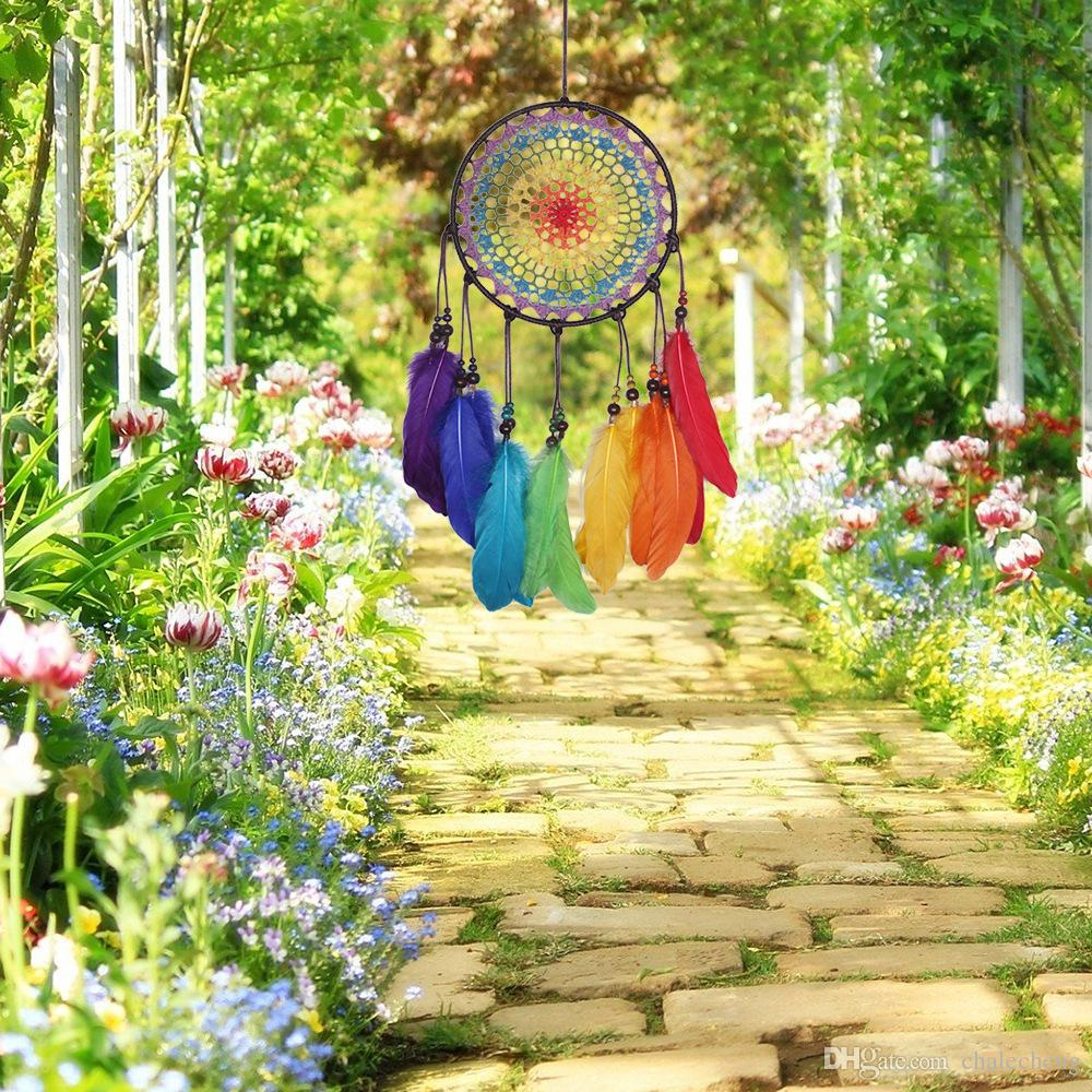 Handmade Dreamcatcher Wind Chimes 7 Rainbow Color Feather Dream Catchers For Gifts Wedding Home Decor Ornaments