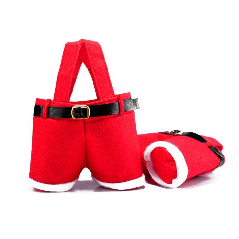 Feliz Natal Presente Tratar Doces Saco De Garrafa De Vinho De Papai Noel Suspender Calças Calças Decor Sacos de Presente Decorações de Natal