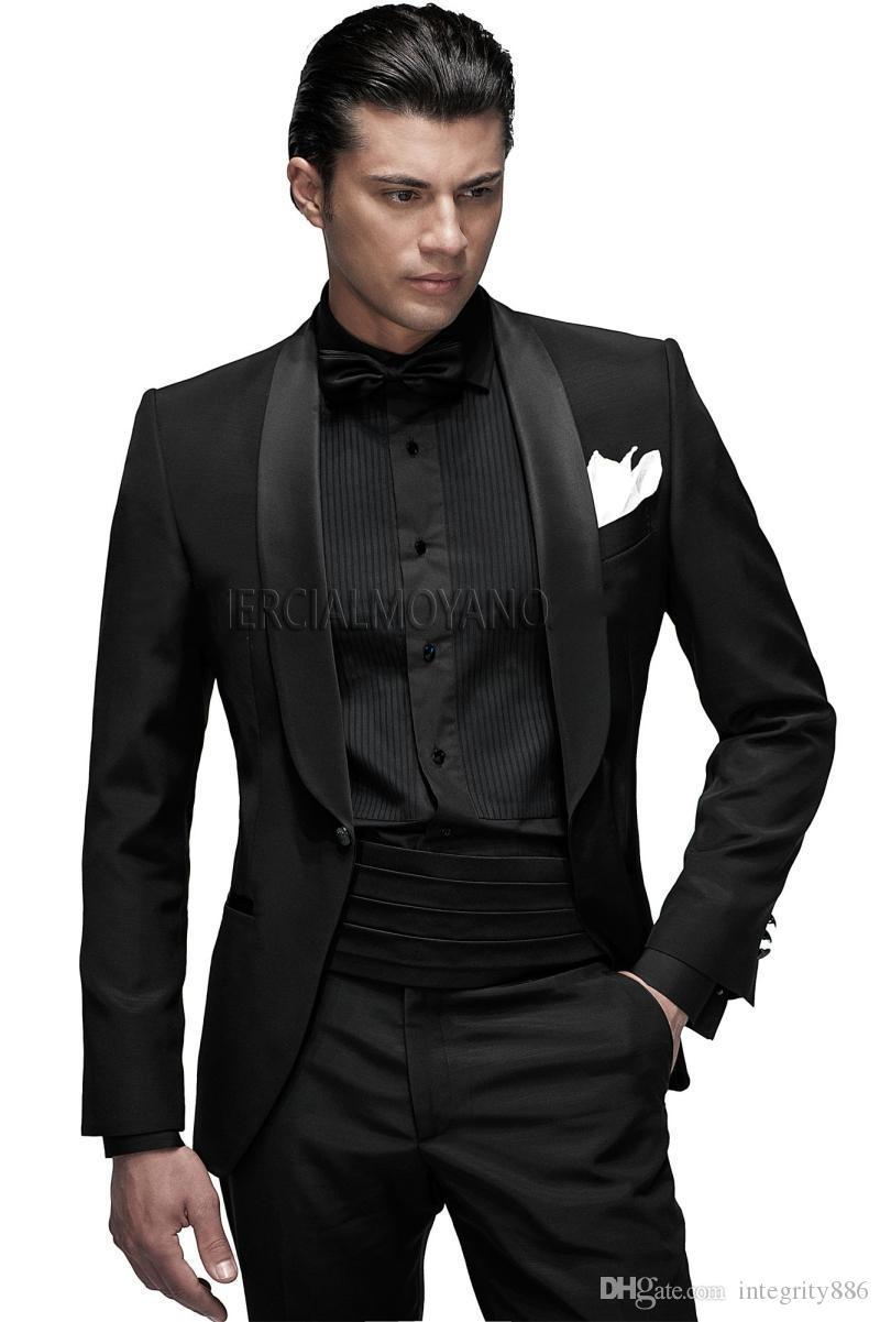 Nouveau Mode Noir Marié Smokings Châle Revers Un Bouton Garçons D'honneur Blazer Excellente Hommes D'affaires Formelle Prom Costume (Veste + Pantalon + Arcs + Ceinturon) 217