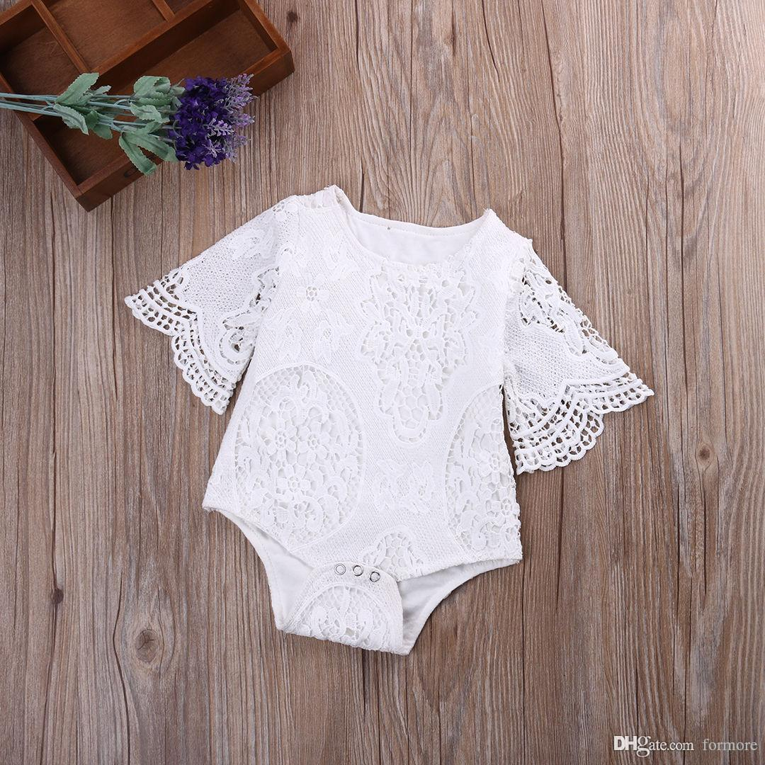 baby clothes factory White Rompers Infant Newborn Girl Clothes Lace Floral Ruffles Babies Girl Tutu Romper Cake Sunsuit Outfits Jumpsuit