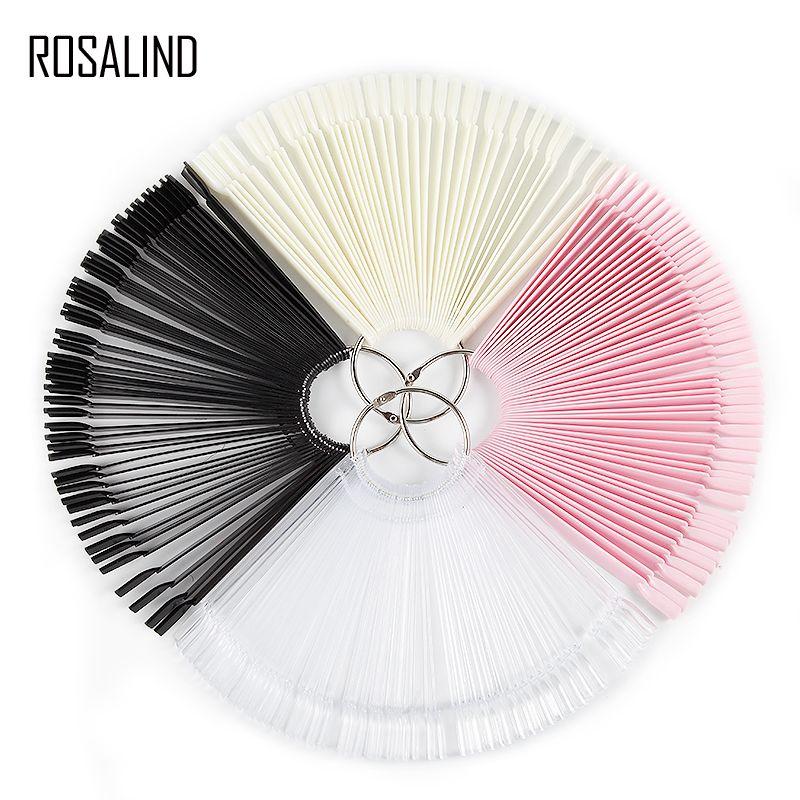 ROSALIND 50pcs/set False Nail Fan Board Display Gel Lacquer Color Nail Art Tips False Round Hoop Stick Practice Manicure Tools Y18101101