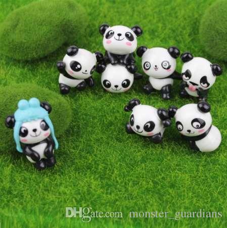 8 adet / takım Sevimli Panda Moss Mikro Peyzaj Reçine Komik Panda Bebekler Süs Peri Bahçe Minyatür Teraryum Heykelcik Dekorasyon