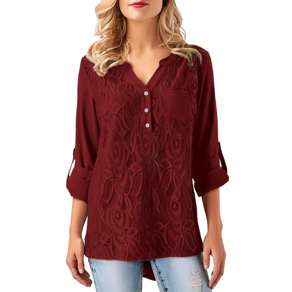 2018 Donne Design del pizzo T Shirt T Shirt Pulsante primavera Femminile Solid Shirt Sexy Maniche lunghe Tops Up V-Neck Back Color Shirts Lady New Kmfhm