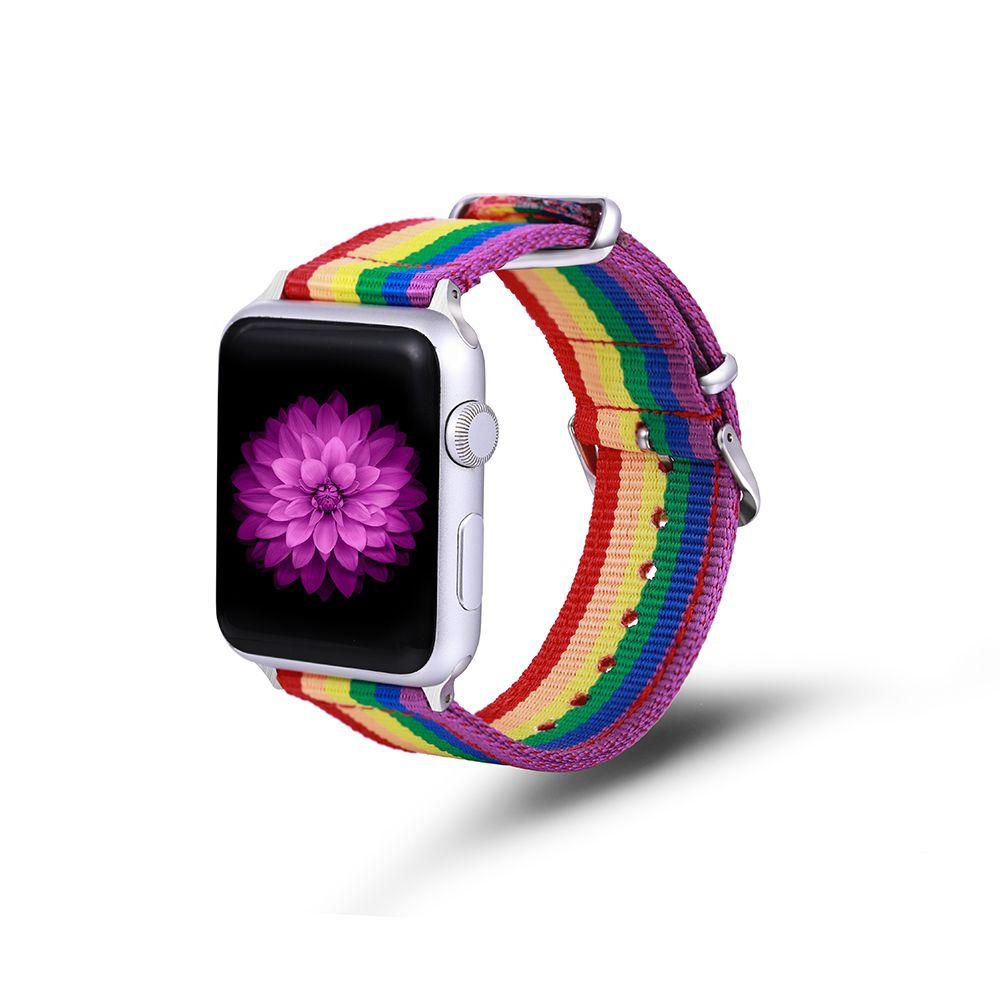 Apple Watch SE / 6 / 5 / 4 / 3 / 2 / 1 무지개 밴드 스트랩 직물 교체 시리즈 38 42 40 44mm 스테인레스 스틸