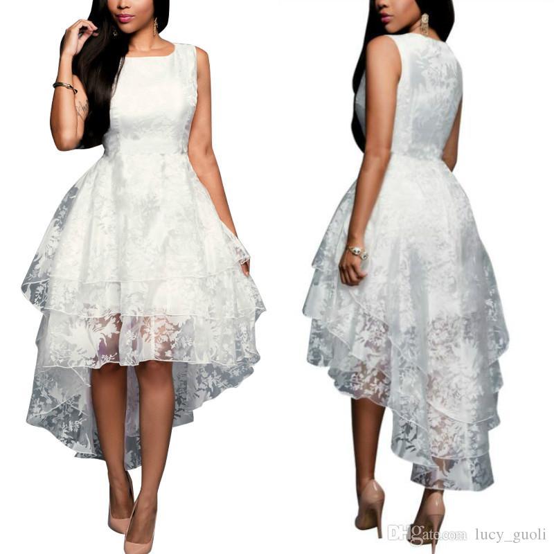Plus Size S-5XL Summer Maxi Dress Vest Skirt Sleeveless Sweet Ball Gown White Organza High Low Evening Party Boho Long Dress Dovetail Skirt