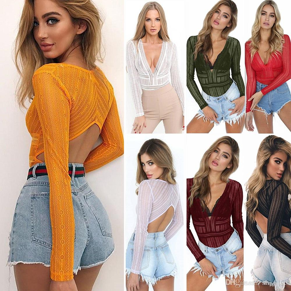 Women Lace Bodies Jumpsuit V-Neck Long Sleeve Backless Mini Jumpsuits Slim Fit Sheer One Piece Top Sexy Girls Clubwear DYH0535
