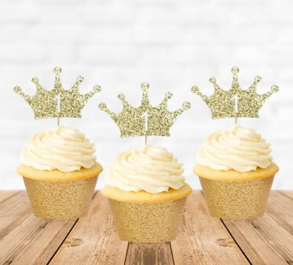 Großhandel Benutzerdefinierte Nummer Glitter Krone Prinzessin Prine Geburtstag Cupcake Topper Taufe Taufe Partei Dekoration Donut Picks Von Doost