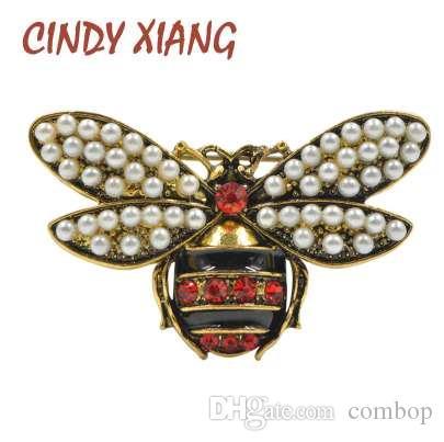 CINDY XIANG 2 색 선택 여성용 라인 석 및 진주 비 브로치 빈티지 보석 패션 곤충 브로치 핀 고품질