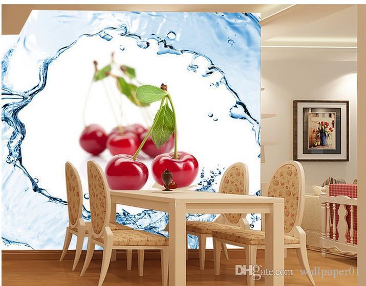 Costumbre 3d papel pared de la foto original de la fruta fresca de fresa Tomate Cereza Cereza spray fondo de la pared del mural del arte de la sala de estar grande Pai