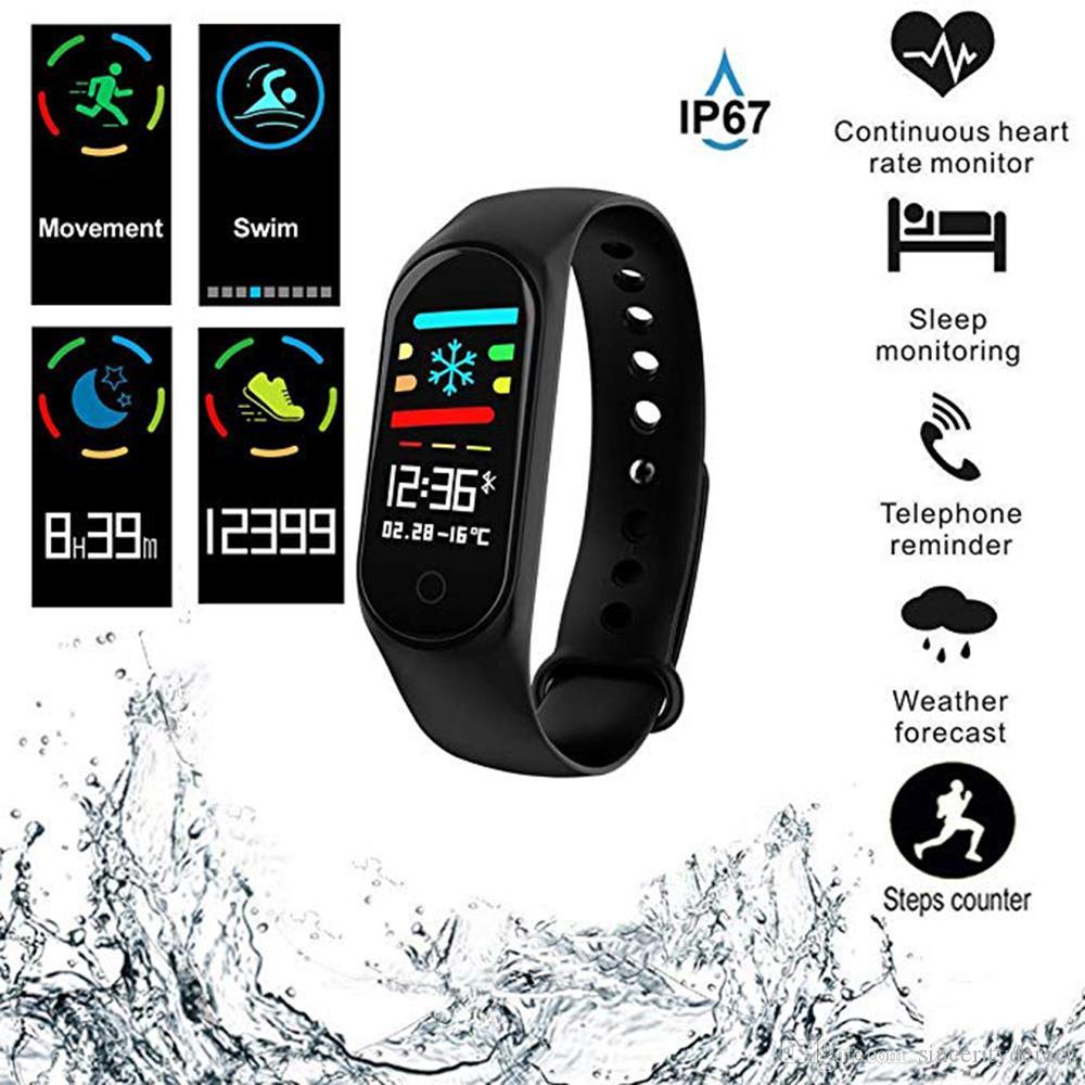 Banda inteligente Reloj Pulsera Pulsera Rastreador de fitness Presión arterial HeartRate Monitor M3s Pantalla a color Resistente al agua para Android IOS Teléfono