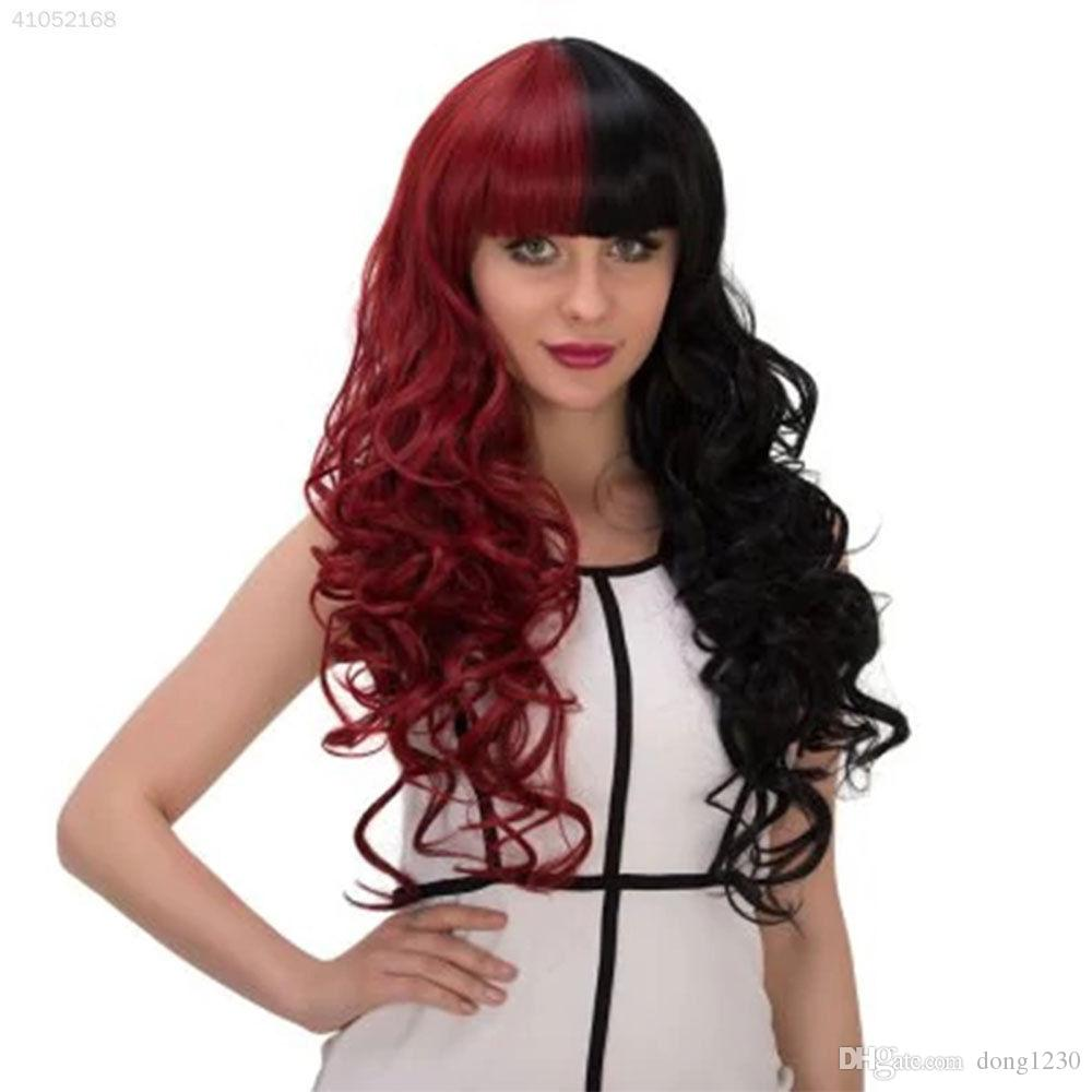 Full Bang longue perruque synthétique cosplay ondulée double couleur cosplay rouge noir