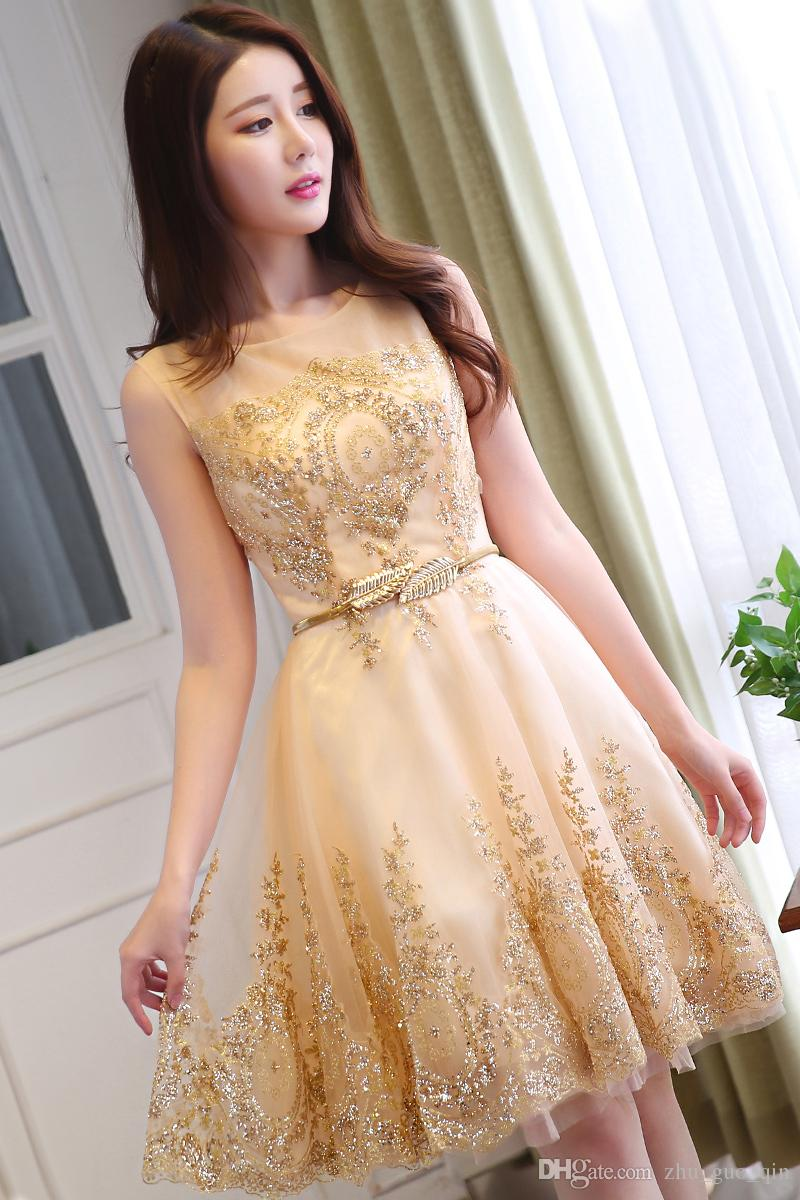 hot product hot-selling real new high New Tulle Lace Gold Cocktail Dress 2018 Short Mother Of The Bride Dresses  Formal Prom Gowns Wedding Party Vestidos De Coctel Bridal Gown Long ...