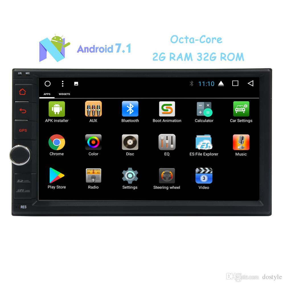 """7 """"Pantalla táctil Car Stereo Android 7.1 Sistema Octa-Core 2G RAM Doble Din GPS En Tablero Navegación Auto Radio Car Receiver WiFi / 1080P"""