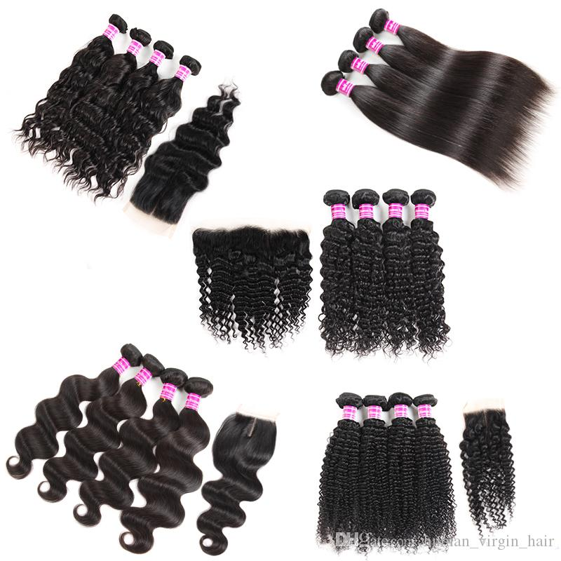 Cheap 8A Brazilian Human Hair Weaves Straight 4 Bundles With Frontal Body Wave Virgin Human Hair Bundles With Closures Remy Hair Extensions