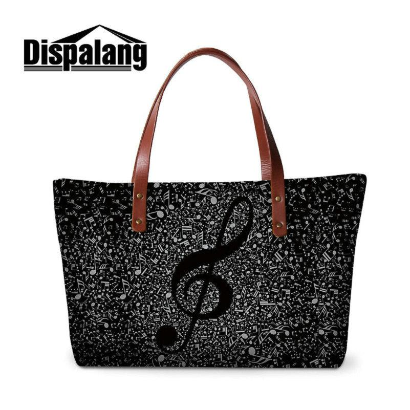 Women Hanbag Shoulder Bags For Traveling Ladies Large Capacity Shopping Totes Bag Creative Design Violin Musical Note Handbags Sac A Main