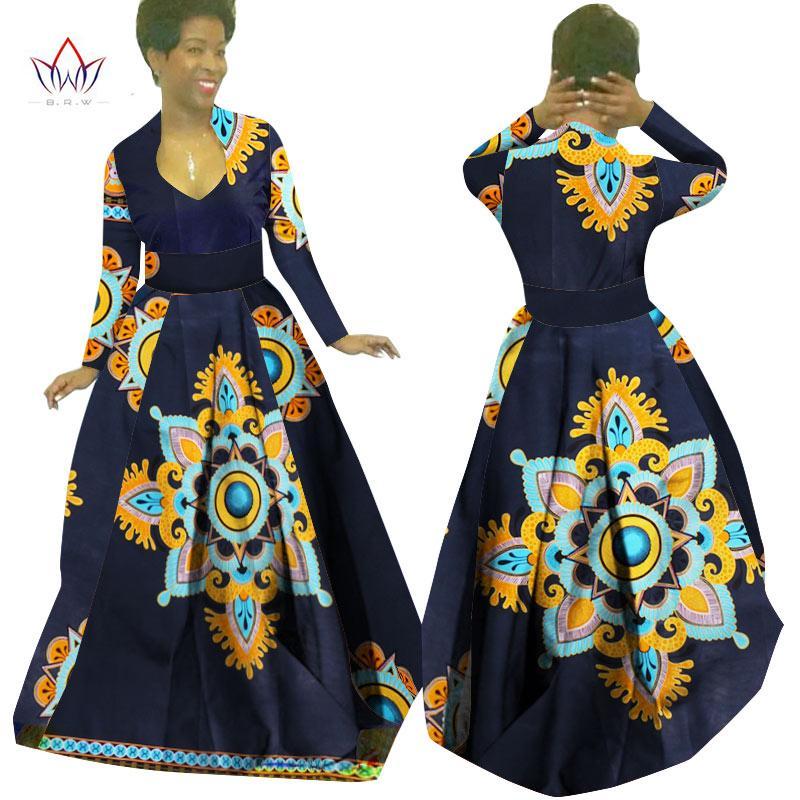 Сшитое на заказ африканская одежда Bazin Rich Dashiki Africrint длинное платье традиционный наряд батик плюс размер женщин платье макси платье WY029