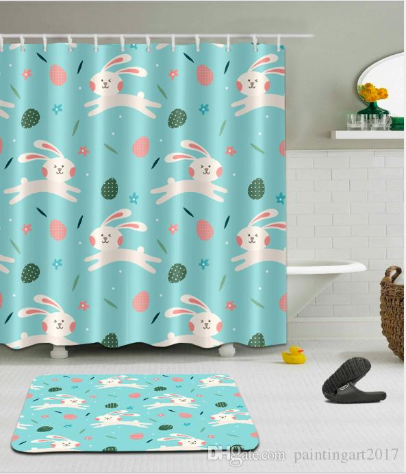 Christmas Happy New Year Rabbit Bathroom Waterproof Fabric Shower Curtain Polyester 12 Hooks Bath Accessory Sets floor mats with hooks