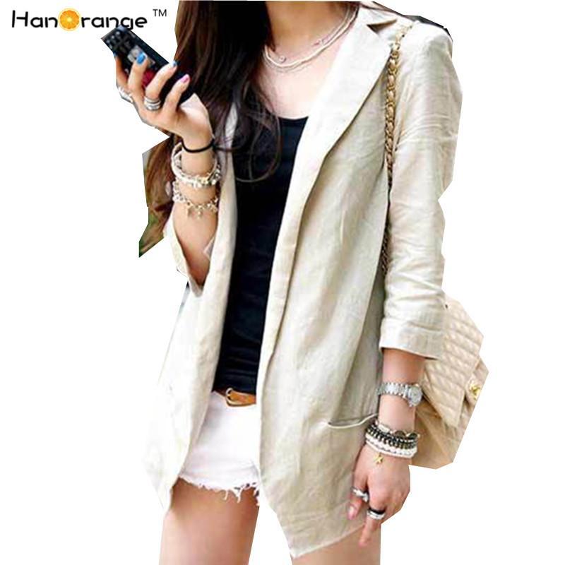 HanOrange 2018 Blazer en lin naturel pour femme d'été mince, cardigan à manches trois-quarts, costume, tops beige / blanc S / M / L / XL / XXL L18101301