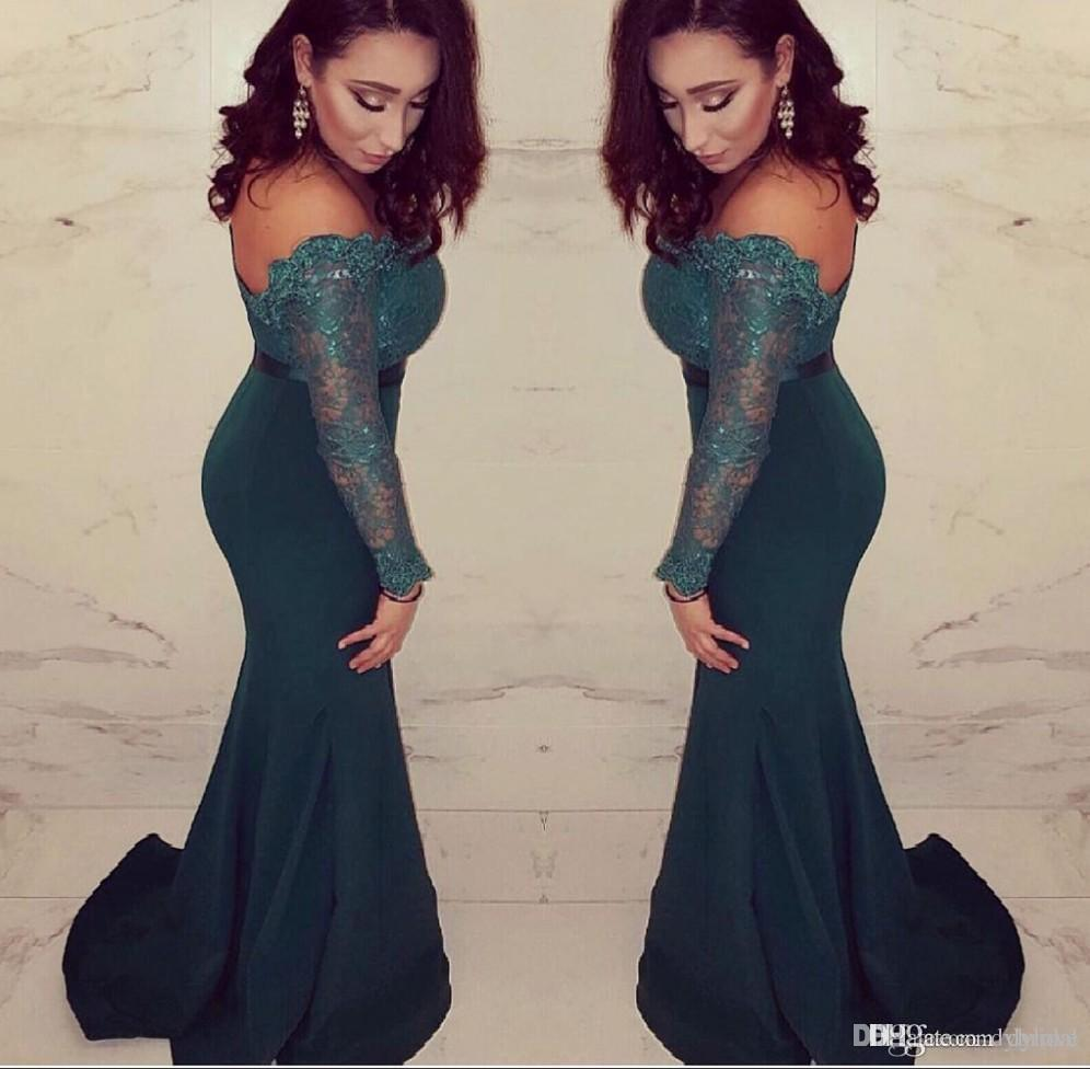 2018 sexy elegant plus size mother of the bride lace navy blue long sleeves prom dresses mermaid evening gowns