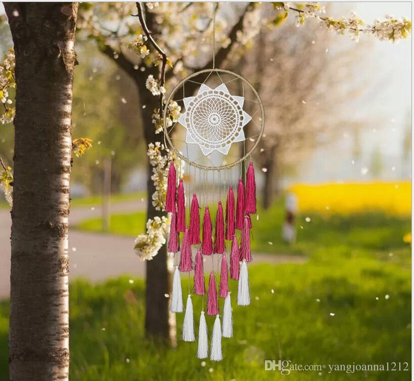 Large Dreamcatcher Wind Chime Hoops With Three Layers Tassels Hanging Art Creative Wind Chimes Style Vintage Home Decoration Free Shipping