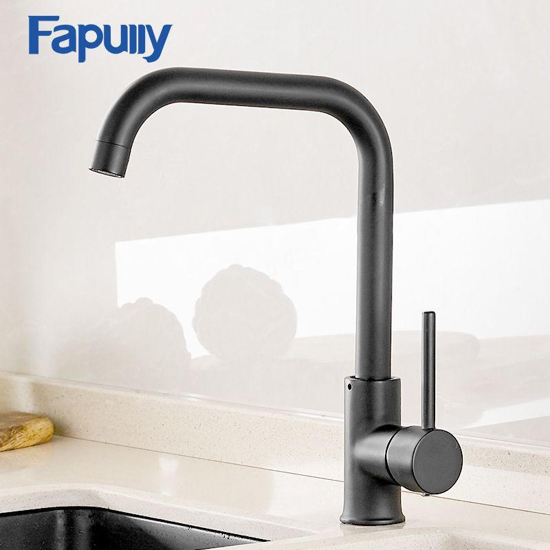 Faucet da cozinha de Fapully 360 girar o misturador preto do Faucet para o projeto da borracha da cozinha Guindaste da plataforma de Hot Faucet quente e frio para os dissipadores AEF0012
