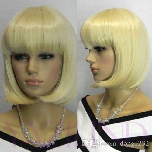 HELLOJF1315 hübsche charmante Haar kurze blonde bob gerade Perücke Perücken für Frauen