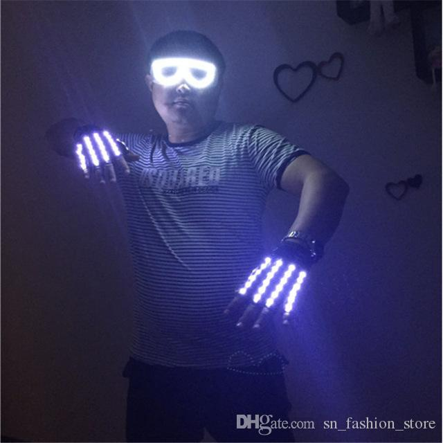 ST007 Rechargeable gloves DJ gloves disco club bar wears LED luminous gloves 1pair 4 colors choose ballroom dance led costumes performance