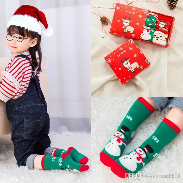 Nuevos calcetines de navidad para bebés, niños, niños, niñas, tobillo, calcetines, otoño invierno, calcetines para bebés, niños, pies, calcetines calientes, 4 pares de caja de regalo 4140