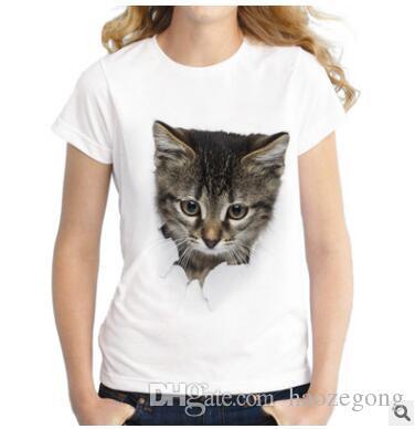 2019 Été Naughty Cat 3D Belle T-shirt Femmes Impression Originalité O-Cou À Manches Courtes T-shirt Tops Tee