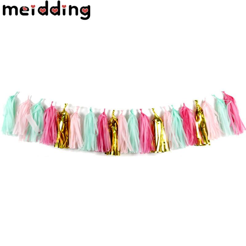 wholesale 20Pcs Colorful Tissue Paper Tassels Garland Banner Balloon Ribbon Kids Birthday Wedding Hen Party Photo Backdrop Props