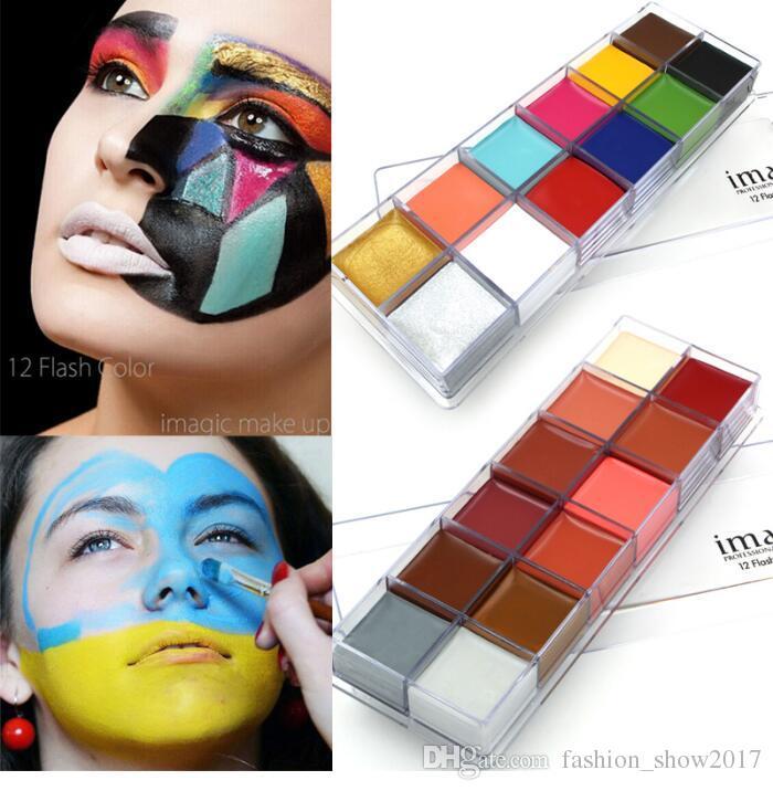 IMAGIC 12 색 플래시 문신 얼굴 바디 페인트 유화 예술 할로윈 파티 멋진 드레스 뷰티 메이크업 도구