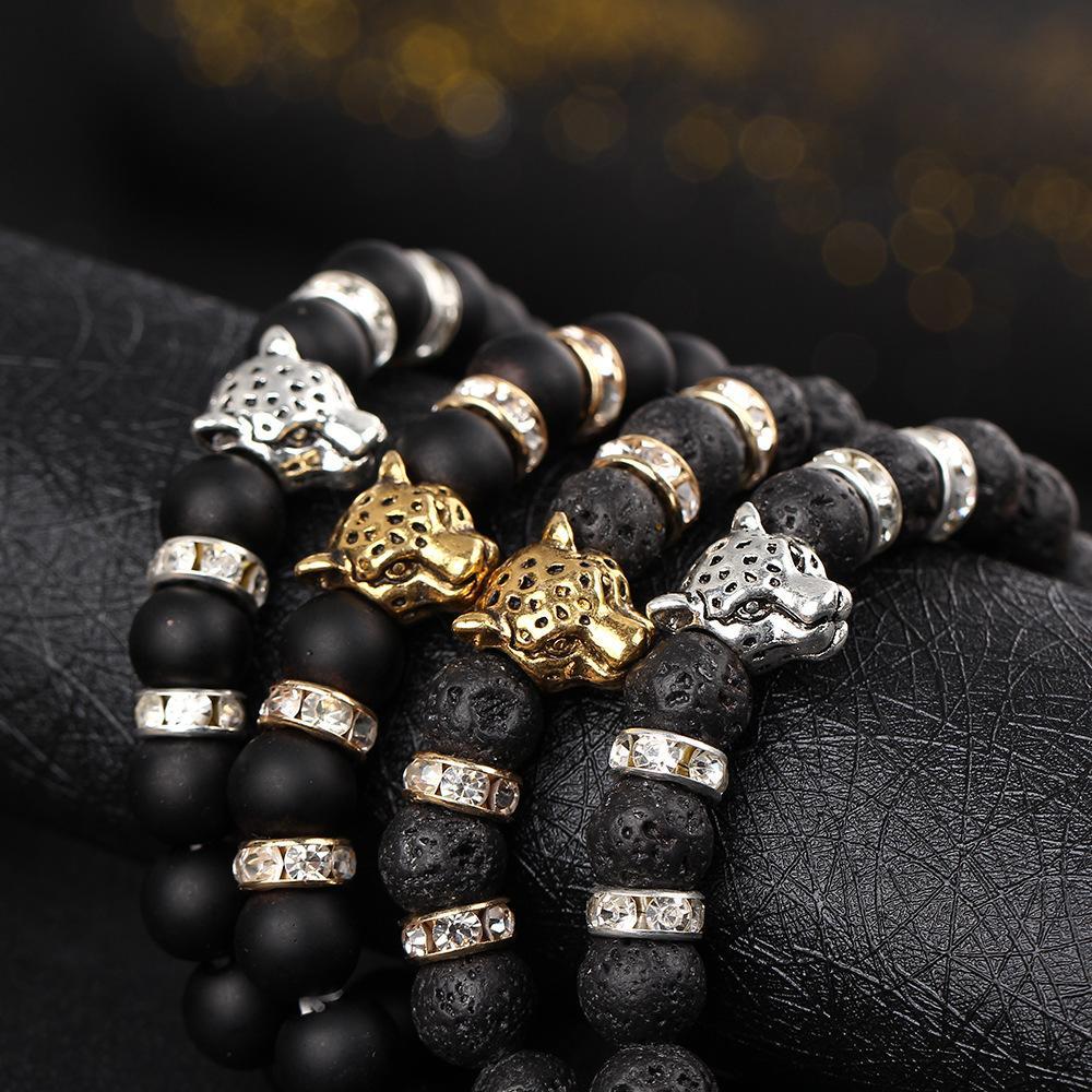 Europa e nos Estados Unidos naturais preto fosco vulcânico lava pulseiras de rock beads cabeça de leopardo cristal cravejado pulseira elástica homens