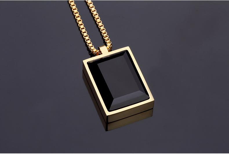 GOOD Gift Small Pendant Necklace Simple Luxury Black Square Created Gem Crystal Rhinestone Choker Rose Gold Jewelry Men\Women