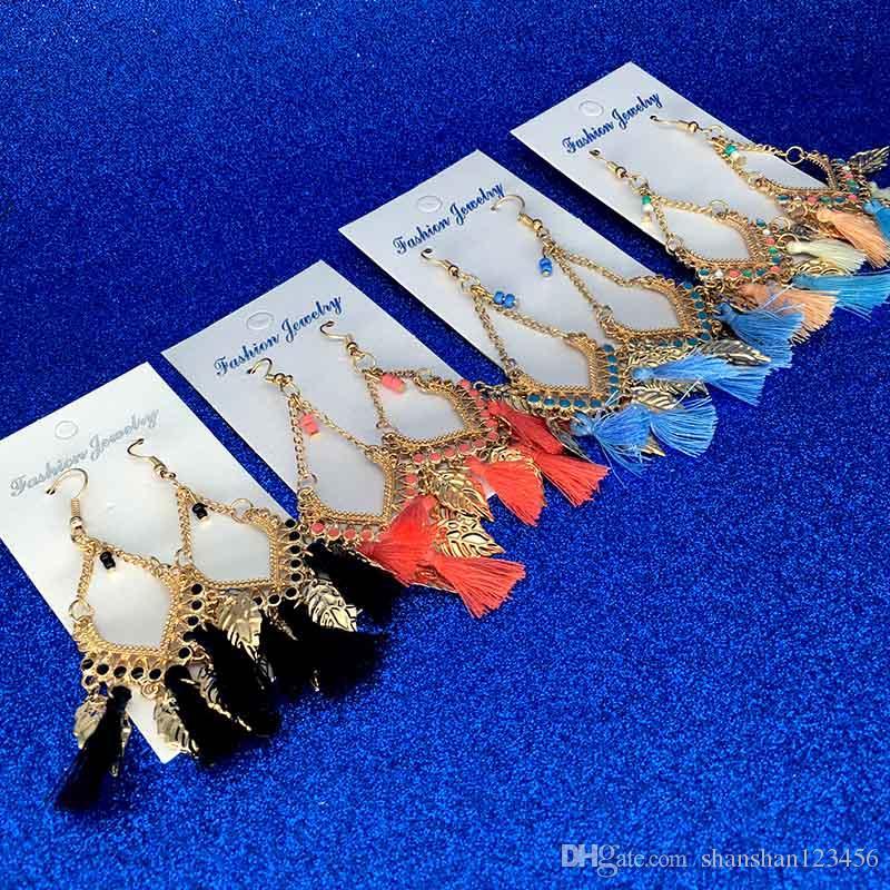 Tassel lampadario orecchini gioielli moda donne boemia piume colorate piume colorate in oro placcato catene nappe tazzine lunghe spalle orecchini da goccia