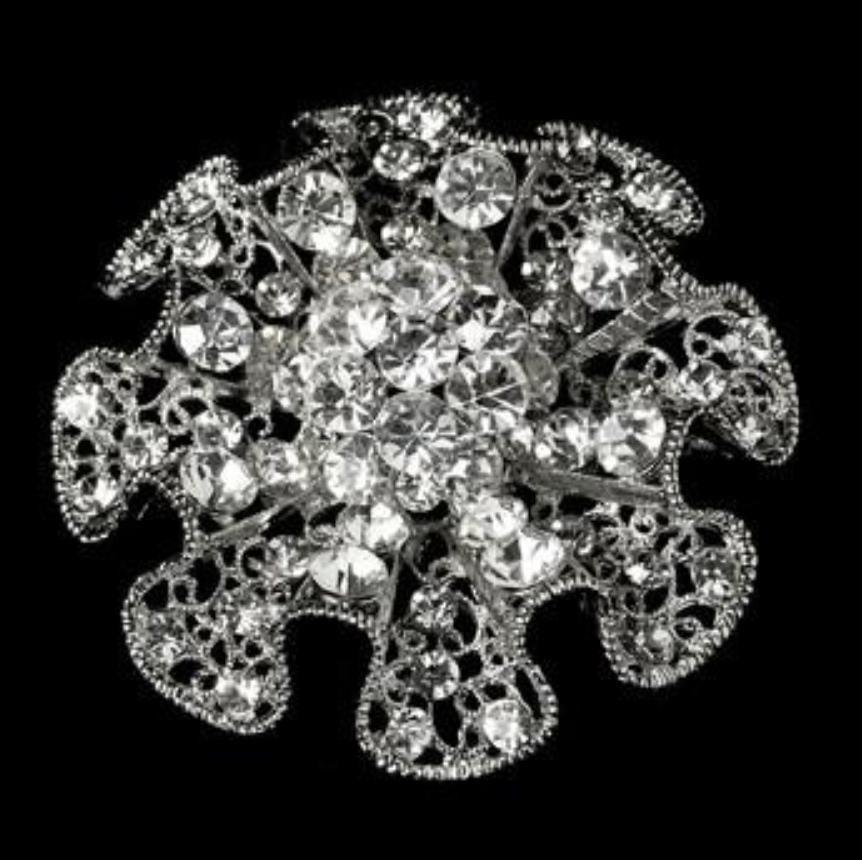 Rhodium Silver Ruffle Rhinestone Blossom Flor nupcial Broche de la boda del banquete de boda Pins