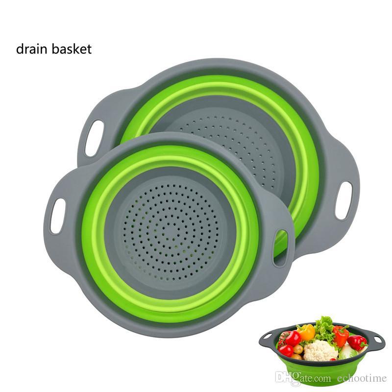 Cabilock 4 Piezas Cesta de Drenaje Plegable Colador Plegable Colador de Alimentos de Silicona Cesta de Frutas Y Verduras para La Cocina Casera
