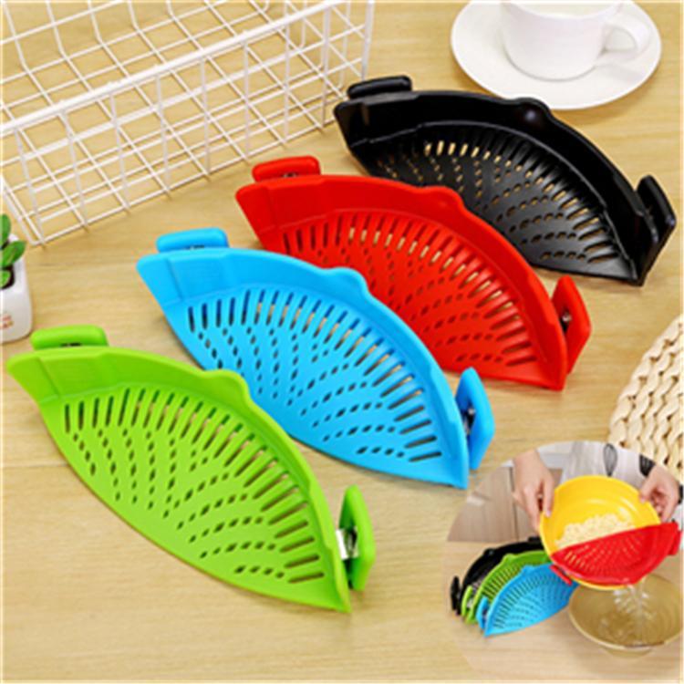 4 colores cocina silicona colador lavado cocina alimentos limpio Clip-On Snap colador líquido separado T2I264