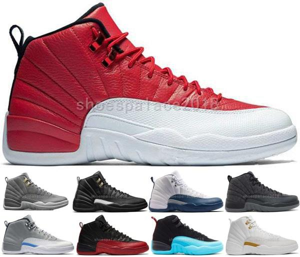2018 Designer 12 Mens Basketball Shoes White Black Gym Red Flu Game Taxi Playoffs University Blue The Master Athletic Sports Shoe Us 8-13