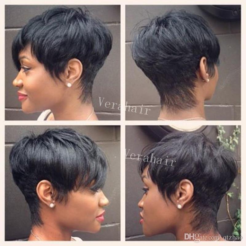 Hot Sale Celebrity Human Real Hair Short Cut Wigs Cheap Short Human Natural Peruvian Hair Glueless Wig For Black Women