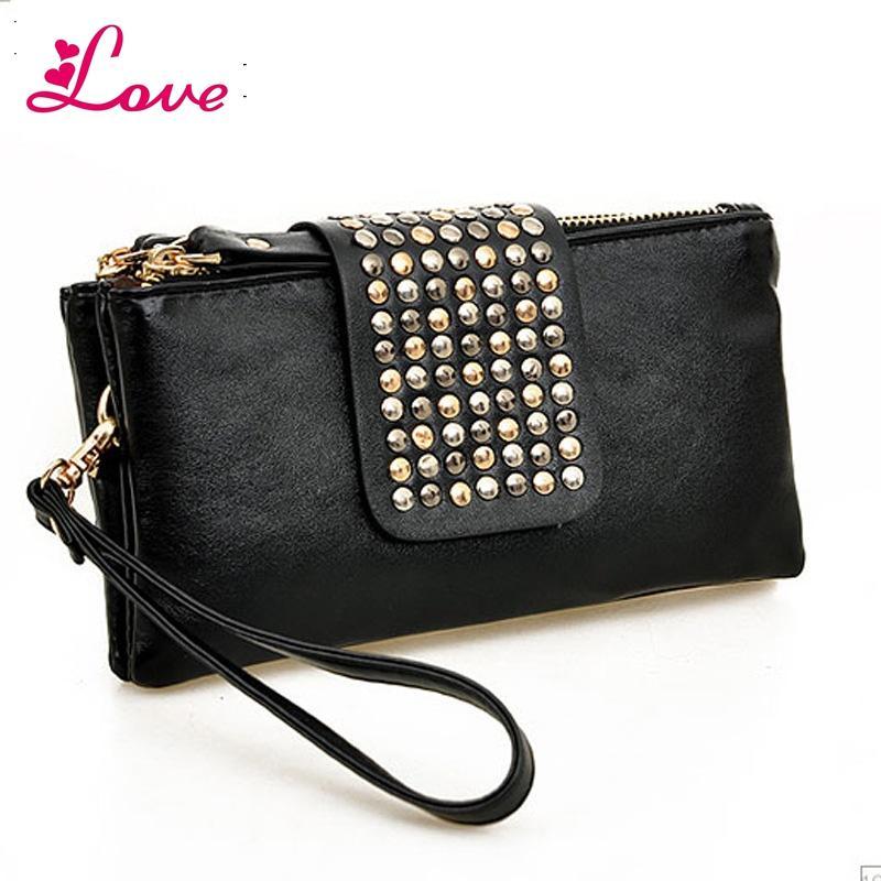 Lucia_shop Women Clutch Bag Fashion Rivet Large Capacity Leather Wallet Purse Party Evening Handbags Phone Bag Bolsa Feminina