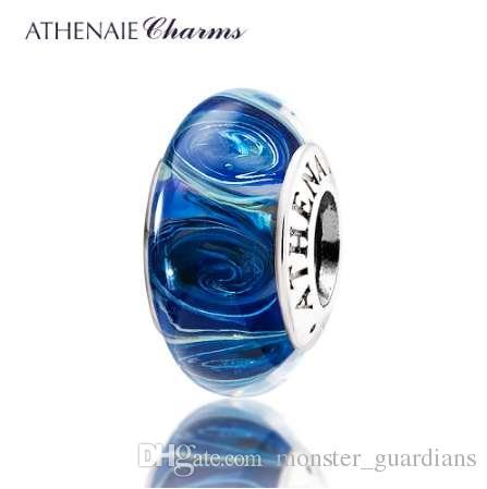 ATHENAIE Hakiki Murano Cam 925 Gümüş Çekirdek Galaxy Charms Boncuk Kadınlar Için Fit Avrupa Bilezik Kolye DIY Takı