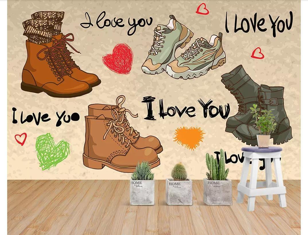 사용자 정의 3d 사진 벽 벽화 벽지 패션 향수 신발 간단한 여성의 신발 쇼핑몰 슈퍼마켓 벽 벽지 3D 벽