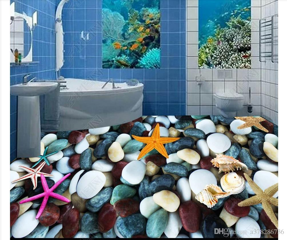 Waterproof Self-adhesive 3D PVC Flooring Wall Sticker 3D wallpaper customized floor painting wall paper 3D starfish conch shell floor