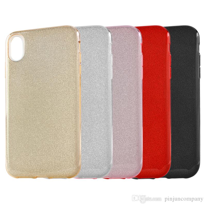 For iphone xs max xr xs Ultrafine clear rubber soft glitter stickers TPU phone case protection shell For iphone xr